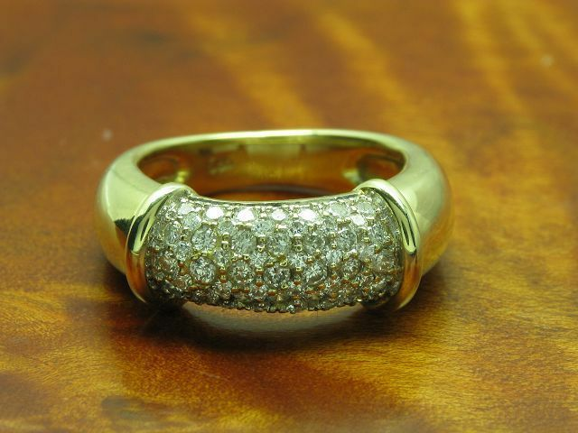 14kt 585 yellowgold Ring mit 0,35ct Brillant Besatz   Diamant   6,4g   RG 46