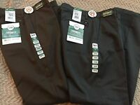 Lee Custom Straight Fit, Flat Front Men 2-pairs Pants Size 33x34, Gray/brown