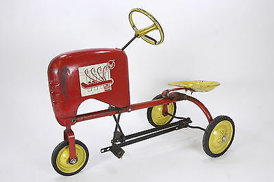 AMF Vintage Toy Pedal Tractor For Parts Or Repair Red & Yellow Cast Metal