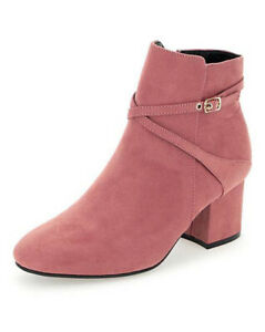 LADIES-PINK-WIDE-FIT-E-ANKLE-BOOTS-SMART-WORK-LOW-HEEL-ZIP-UP-COMFY-SHOES-UK-4-9