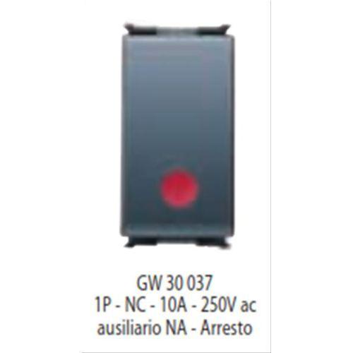 GW30037 GEWISS PULSANTE UNIPOLARE 1P NC 10A AUX /'/'ARRESTO/'/' PLAYBUS