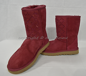 New Ugg Crystal Diamond Classic Short Boots In Oxblood