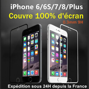 film protection cran vitre en verre trempe int gral total iphone 6 s 7 8 plus x ebay. Black Bedroom Furniture Sets. Home Design Ideas