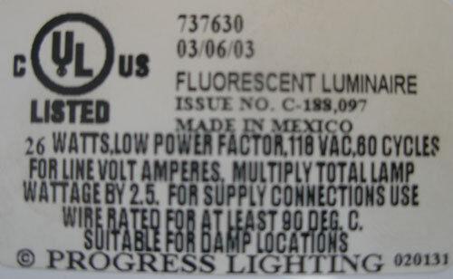 NEW Progress Lighting P7376-30 120V Hard-Nox Two-Light Flush Mount in White