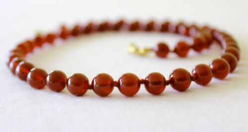 Carnelian Necklace 8mm Hand Knotted Genuine Natural 8 mm carnelian Beads Red