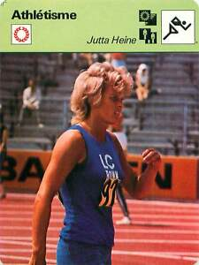 "FICHE CARD: Jutta Heine RFA Sprint 200 m Athlétisme 1970s B - France - EBay Jeux Olympique Olympic GamesPORT EUROPE GRATUIT A PARTIR DE 4 OBJETSBUY 4 ITEMS AND EUROPE SHIPPING IS FREE FICHE FRANCE ANNEES 70s Athletics ETAT VOIR PHOTO FORMAT 16 CM X 12 CM SIZE : 6.29 "" X 4.72 "" inch FICHE SPORTAthlétisme-2 - France"