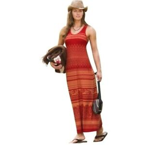 9c2c72bf90b1 Athleta Red Orange Tribal Print Racerback Shelf Bra Sleeveless Maxi ...