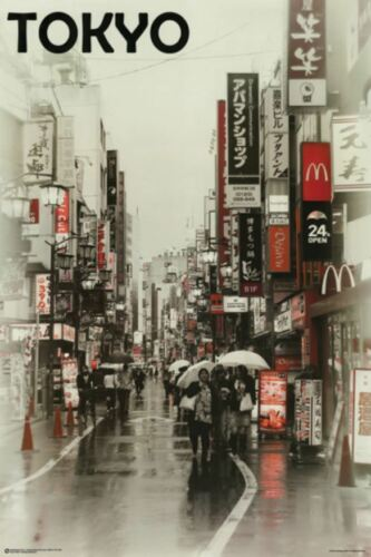 Tokyo City Street 24x36 Poster Japan Travel Wall Art Print Home Decor Picture