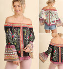S-2X Umgee Floral Print Off Shoulder Bell Sleeve Gypsy Peasant Top Black Boho