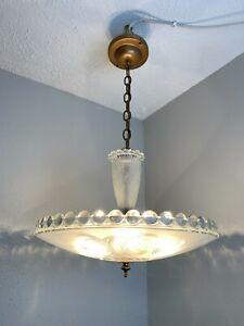 Large Vintage Art Deco verre chambre 5 lumière HANGING FIXTURE