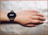 Beautiful Black Onyx Sterling Silver Bracelet + Magical Goldstone Heart