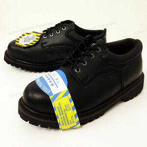 New-Men-039-s-Steel-Toe-Work-Boots-4-034-Black-Leather-Oxford-Oil-Resistant-Shoes-Sizes