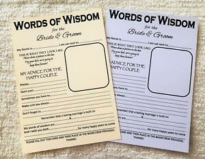 A5 Wedding Words of Wisdom Table Trivia Bride Groom Advice Game ...