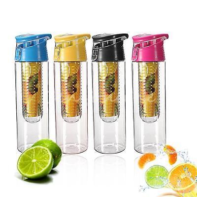 Colorful 800ML Sport Fruit Juice Detox Drink Infuser Flip Water Bottle BPA Free