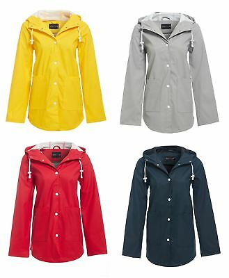 Womens Hooded Buttoned Raincoat Jacket Ladies Kagool Cagoule Mac 8-16