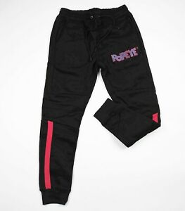 Popeye-mens-100-authentic-Sweatpants-Jogger-Mens-Size-Large-black-logo