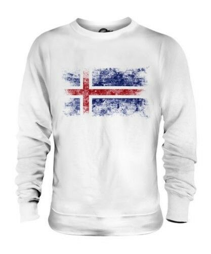 ICELAND DISTRESSED FLAG UNISEX SWEATER TOP ISLAND FOOTBALL ICELANDIC GIFT SHIRT