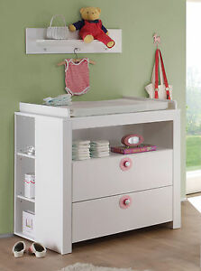 baby wickelkommode wickeltisch wei rosa babyzimmer m bel set 2x regal olivia ebay. Black Bedroom Furniture Sets. Home Design Ideas