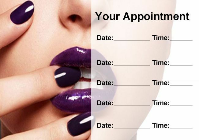 Nail Salon Manicure Pedicure lila Personalised Appointment Cards