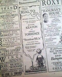 STEAMBOAT-BILL-JR-Silent-Film-Movie-Buster-Keaton-OPENING-DAY-1928-Newspaper