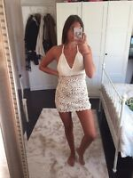 Missguided White crotchet dress Never worn before for no reason. Size 6/8