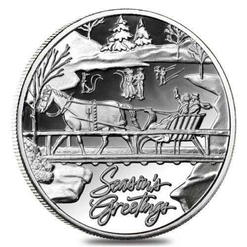 1 oz Horse /& Sleigh Silver Christmas Round .999 Silver