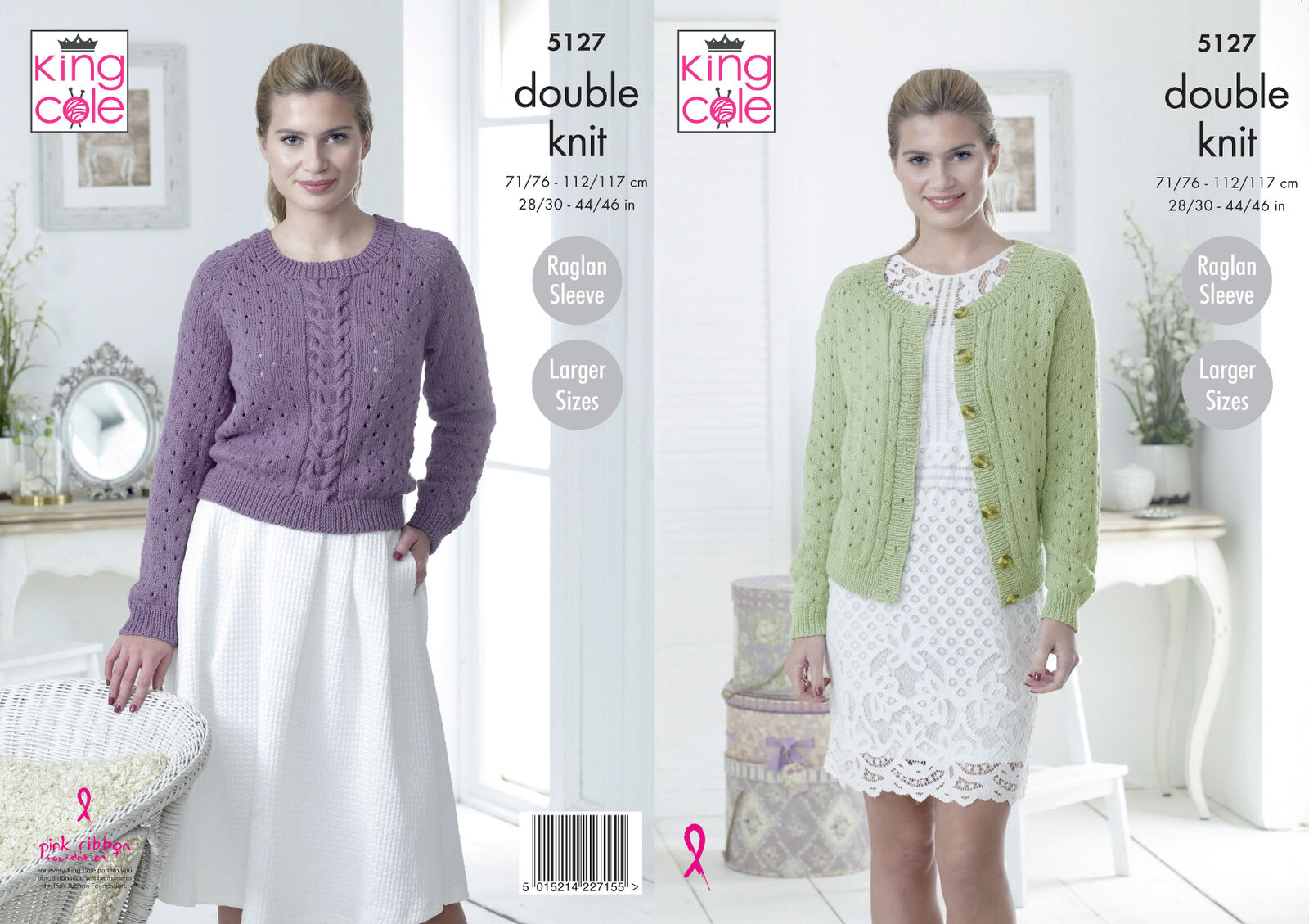Womens Raglan Sleeve Jumper /& Cardigan Chunky Knitting Pattern King Cole 5285