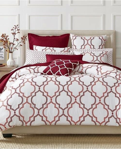 Twin Comforter Duvet Cover Set Double Ogee Garnet rot - Damask Charter Club -New