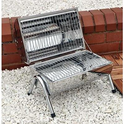 Portable Barrel Stainless Steel BBQ Garden Camping Picnic Table Top Food Grill