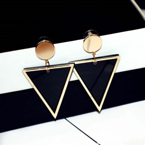 18k Gold Plated Geo Triangle Black Gold Round Statement Drop Earrings