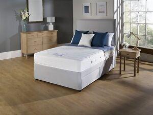 Fabric grey divan bed set memory mattress headboard 3ft for Grey double divan bed