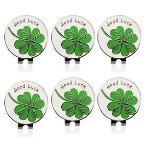 6 pcs   lot Lucky clover Golf Cap Clip Golf Ball Marker Alloy ... 23aeb2ac122f