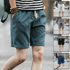 Men-039-s-Linen-Shorts-Beach-Pocket-Short-Pants-Drawstring-Laced-Trousers-M-5XL