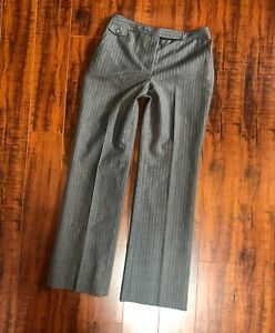 Designer-ANN-TAYLOR-sz-2P-Gray-Pinstriped-Lined-Wide-Leg-Dress-Slacks-Pants