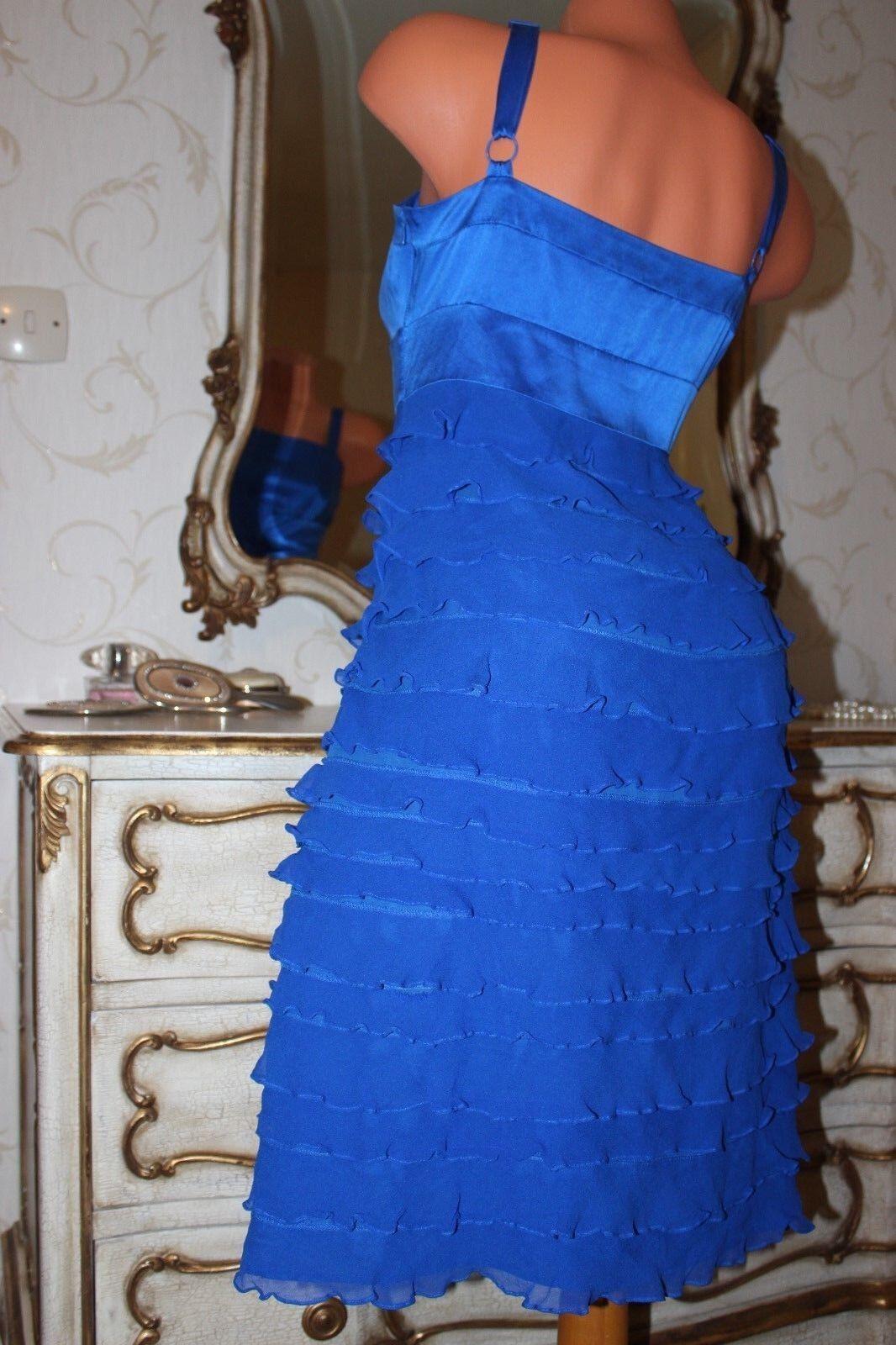 Monsoon Royal Blu 100% SETA SETA SETA donna aderente Frilly abito taglia 10 3ee84b