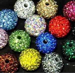 1000pcs 10mm 5 Row AAA Rhinestone shamballa beads disco ball Crystal beads Mixed