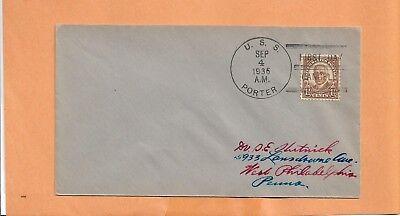 Briefmarken Usa Effizient U.s.s.porter September 4,1936 Marine Abdeckung