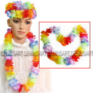 10X-Hawaiian-Beach-Necklace-Leis-96cm-Lei-Flower-Decorations-Crafts-Luau-Party