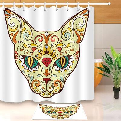 Trendy Sugar Skull Gentleman Shower Curtain Bathroom Mat Polyester Fabric Hooks