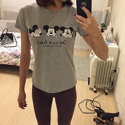 Verano Mujer Mickey Minnie Mouse Camiseta Manga Corta Informal Blusa Suéter