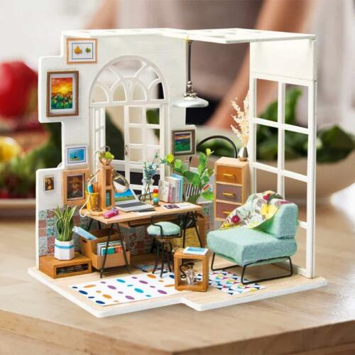 ROBOTIME Wooden Miniature Dollhouse Kit with Furniture Christmas Gift for Girls