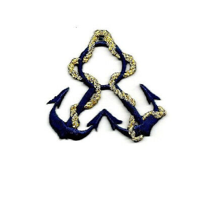 Navy Blue Anchor//Gold Rope Nautical Iron on Applique//Embroidered Patch