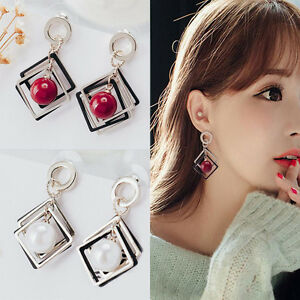 Image Is Loading Women Korean Fashion Jewelry White Red Pearl Earrings