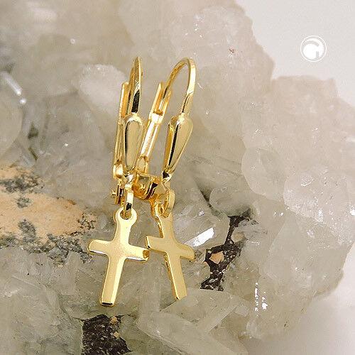333 Gelbgold Ohrringe Ohrhänger Brisur 9x5mm Kreuz glänzend 8Kt GOLD.