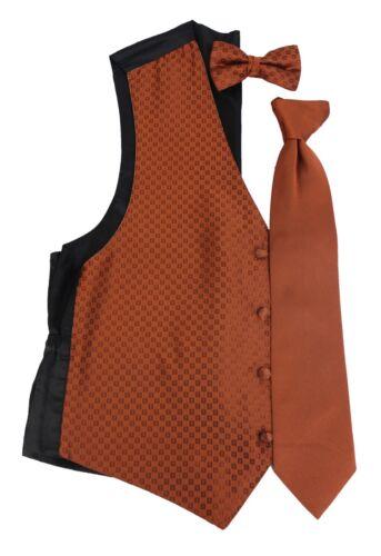 Mens Burnt Orange Sienna Perfect Tuxedo Formal Vest /& Tie Wedding Groomsman