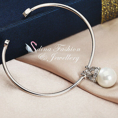 18K White Gold Plated Simulated Pearl Stylish Simple Adjustable Cuff Bangle