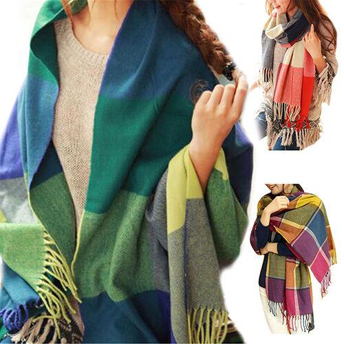 CN/_ EG/_ Women Fashion Winter Warm Soft Tassel Plaid Scarf Pretty Long Wrap Sha