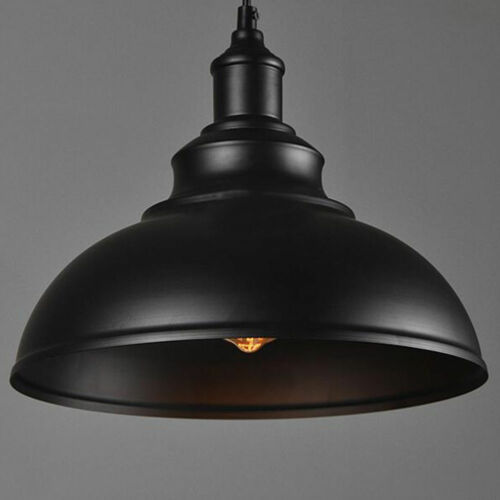 E27 Curvy Vintage Industrial Edison Metal Hanging Light Lampshade Brushed Colour