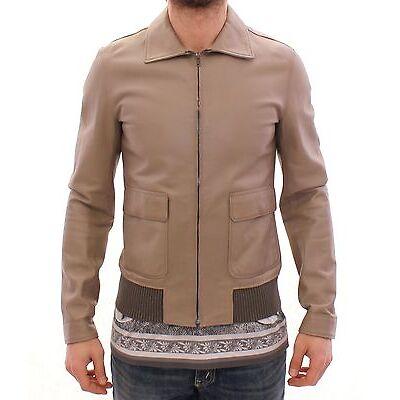 NWT $5400 DOLCE & GABBANA Beige Leather Jacket Biker Coat Giacca EU50 / US40 / L