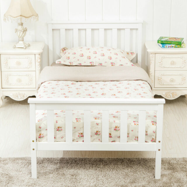 3ft Solid Wood Single Bed Frame In White Slatted Base Sturdy Bedroom